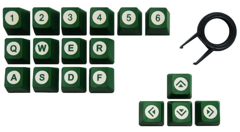 Tai-Hao ABS Double Shot Keycaps Poker 18 Key Set Green/White